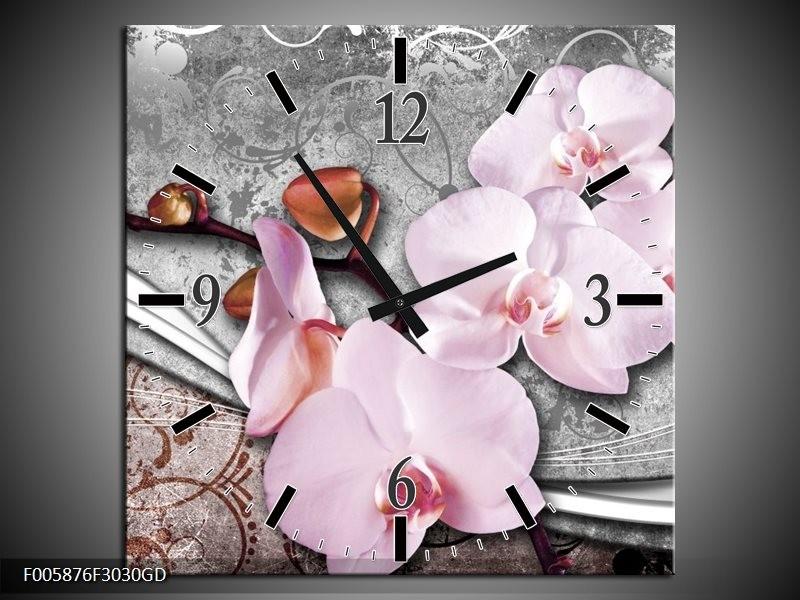 Wandklok op Glas Orchidee | Kleur: Roze, Grijs | F005876CGD