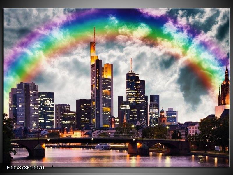 Glas schilderij Wolkenkrabber   Grijs, Zwart
