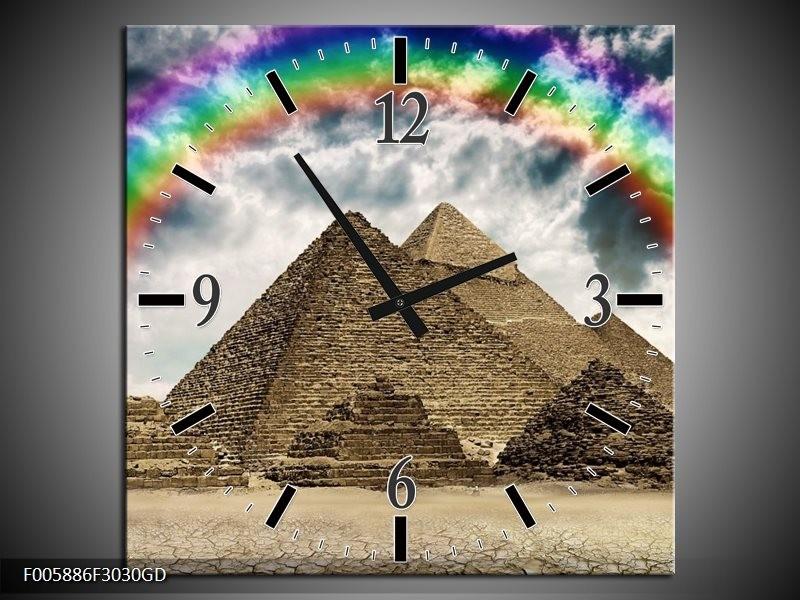 Wandklok op Glas Piramide | Kleur: Bruin, Creme | F005886CGD