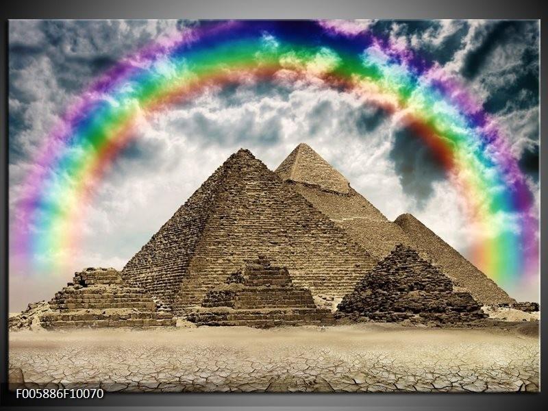 Glas schilderij Piramide   Bruin, Crème