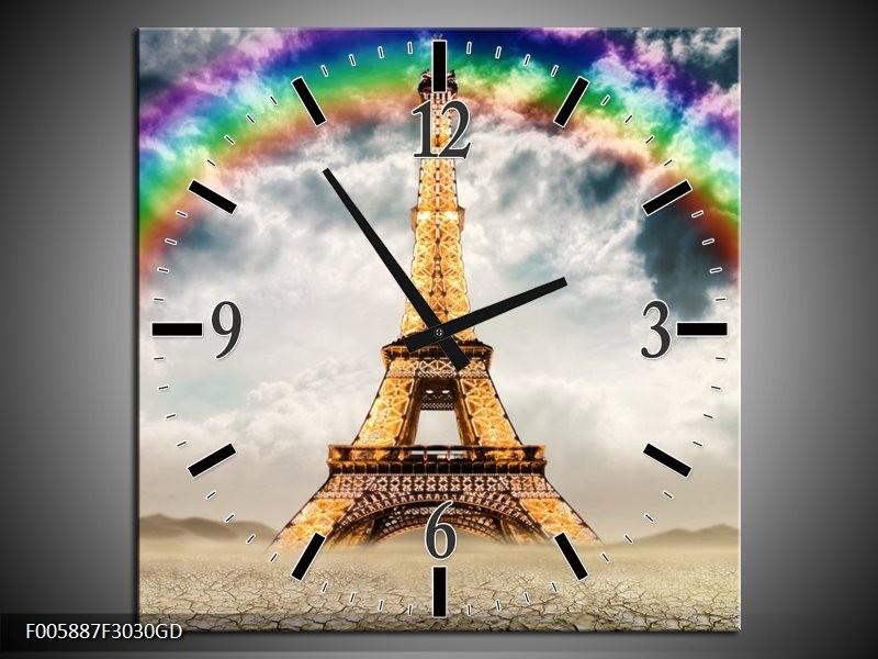 Wandklok op Glas Eiffeltoren | Kleur: Goud, Grijs | F005887CGD