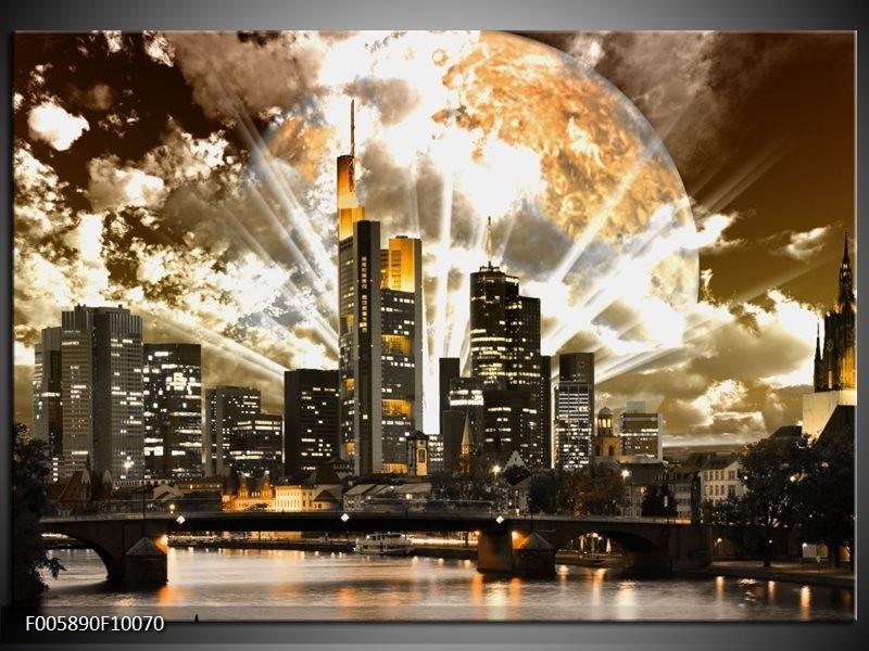 Glas schilderij Wolkenkrabber | Bruin, Grijs, Zwart