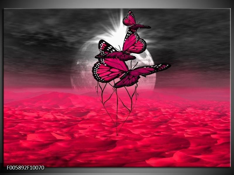 Glas schilderij Vlinder | Roze, Paars, Grijs