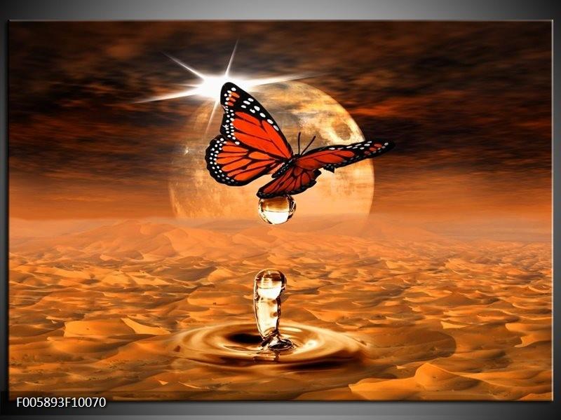 Glas schilderij Vlinder | Bruin, Goud