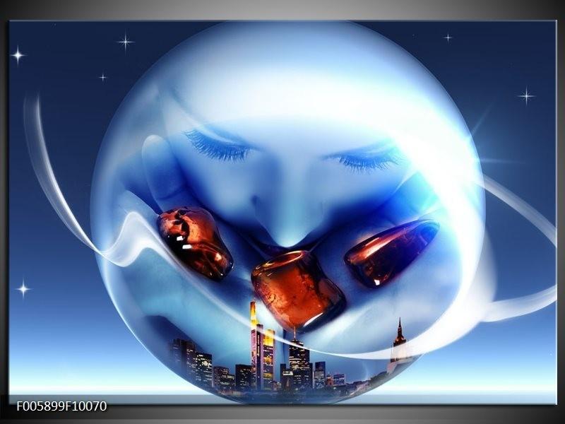 Glas schilderij Cirkel | Blauw, Bruin