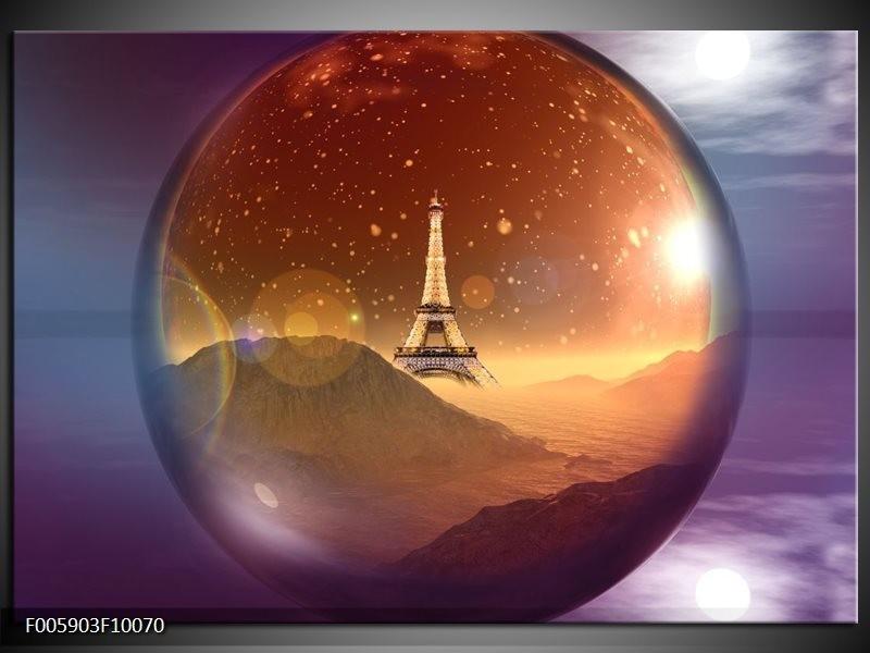 Glas schilderij Eiffeltoren | Paars, Goud, Bruin