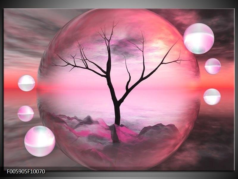 Glas schilderij Boom | Paars, Grijs