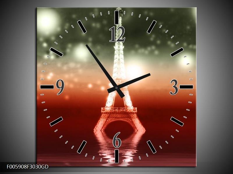 Wandklok op Glas Eiffeltoren | Kleur: Rood, Grijs | F005908CGD