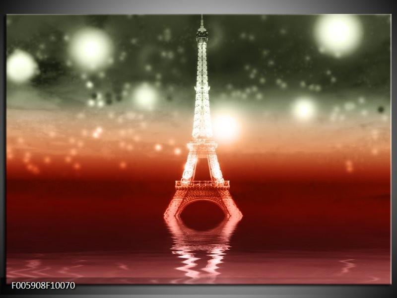 Glas schilderij Eiffeltoren   Rood, Grijs