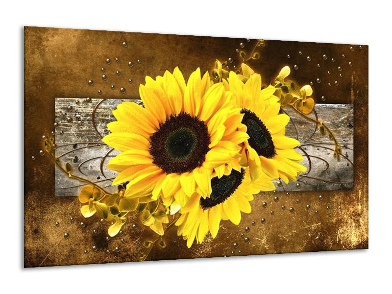 Canvas schilderij Zonnebloem | Geel, Bruin, Grijs | 120x70cm 1Luik