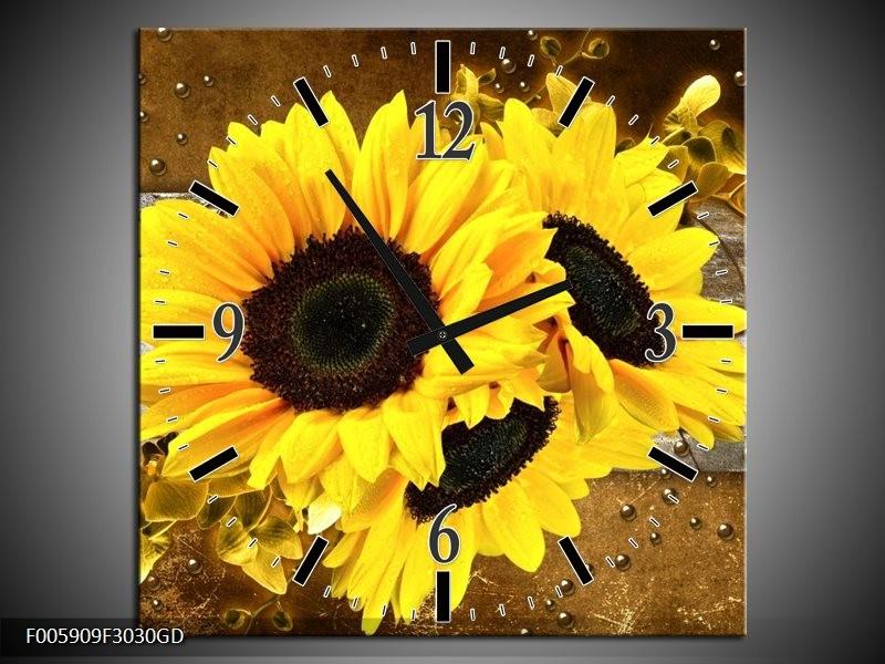 Wandklok op Glas Zonnebloem | Kleur: Geel, Bruin, Grijs | F005909CGD