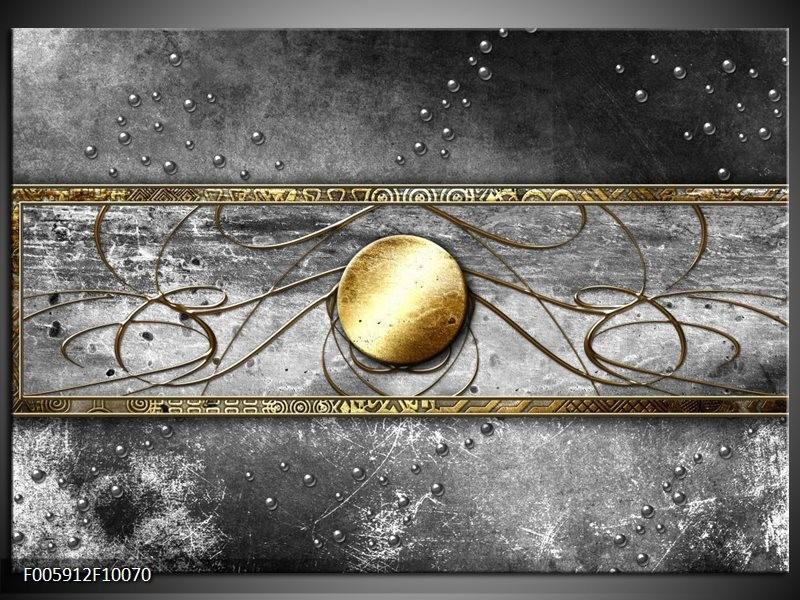 Glas schilderij Cirkel   Grijs, Goud