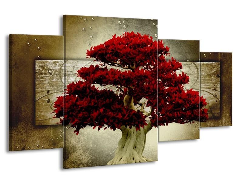 Glas schilderij Boom | Rood, Bruin | 160x90cm 4Luik