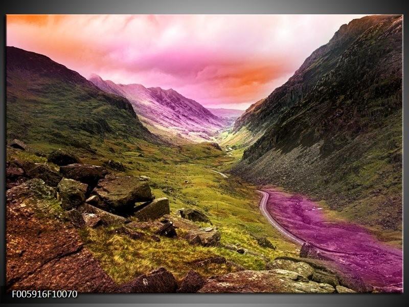 Glas schilderij Bergen | Roze, Paars, Grijs