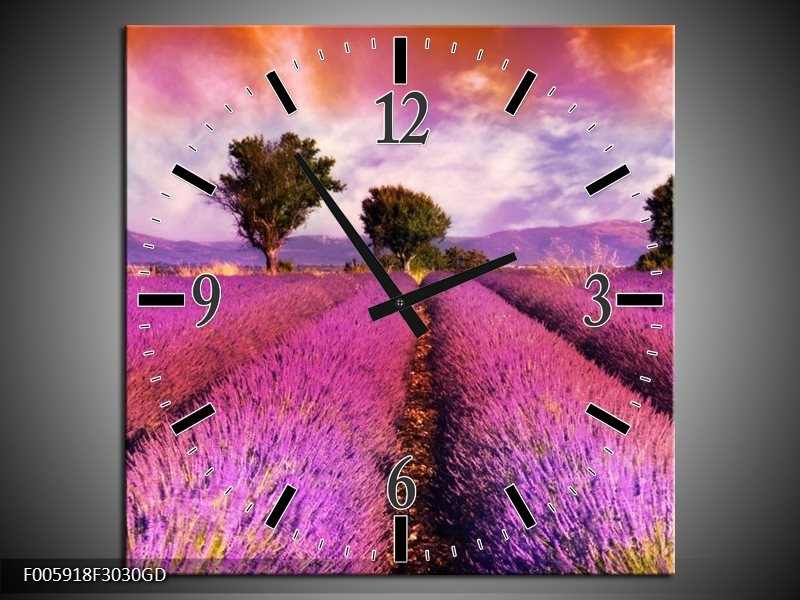 Wandklok op Glas Landschap | Roze, Oranje, Grijs | F005918CGD