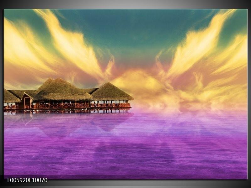 Glas schilderij Uitzicht | Paars, Blauw, Geel