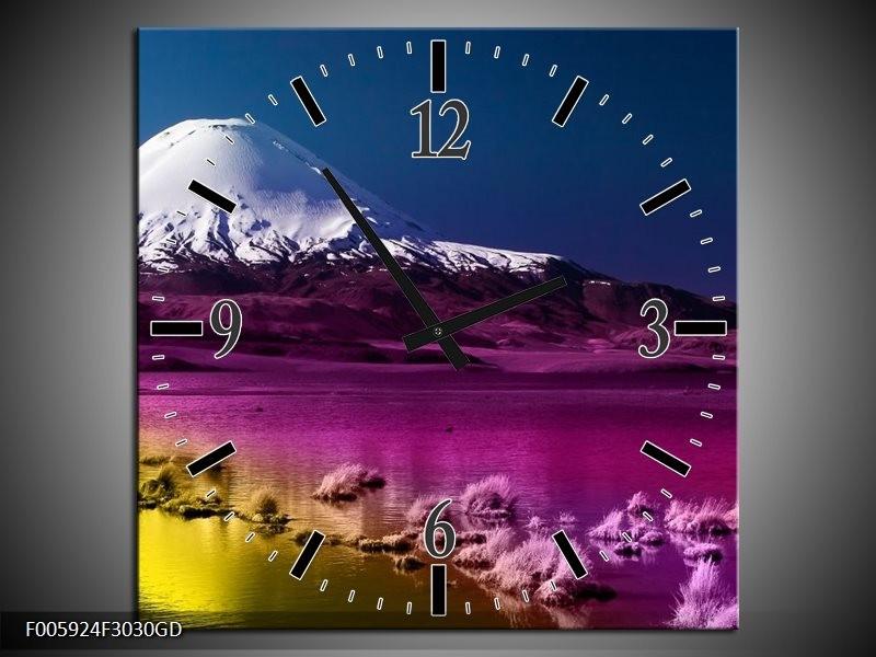 Wandklok op Glas Bergen | Blauw, Paars, Geel | F005924CGD