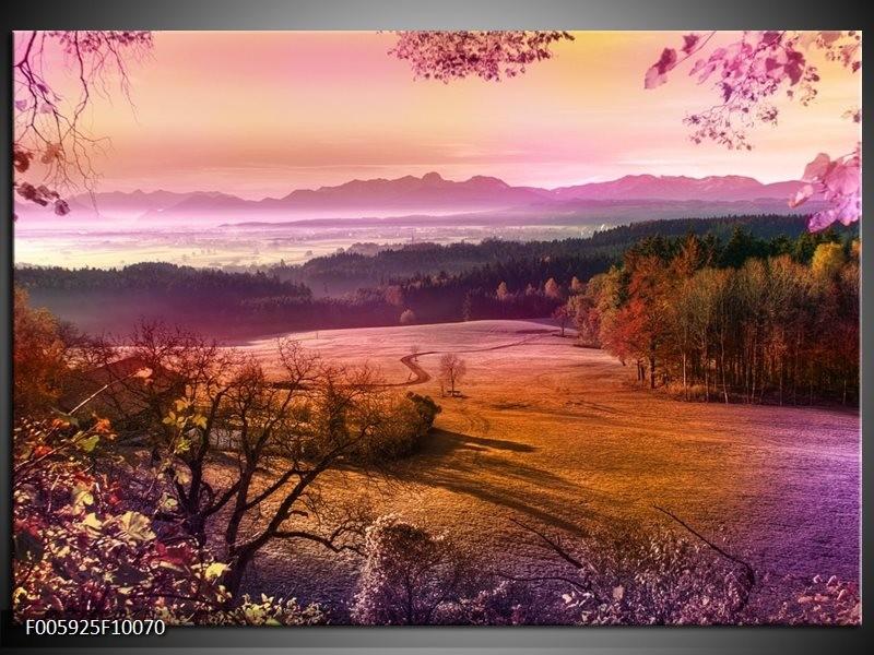 Glas schilderij Landschap   Oranje, Paars, Grijs