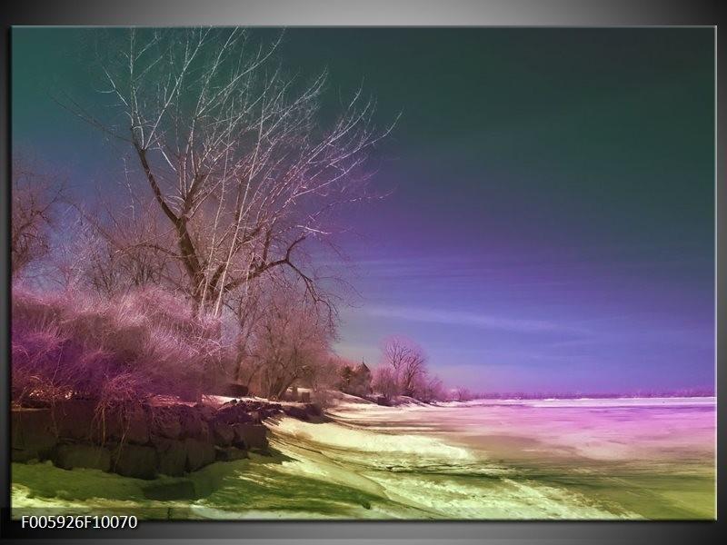 Glas schilderij Landschap   Groen, Blauw, Roze