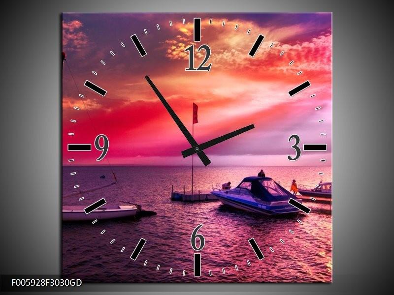 Wandklok op Glas Water | Paars, Roze, Blauw | F005928CGD