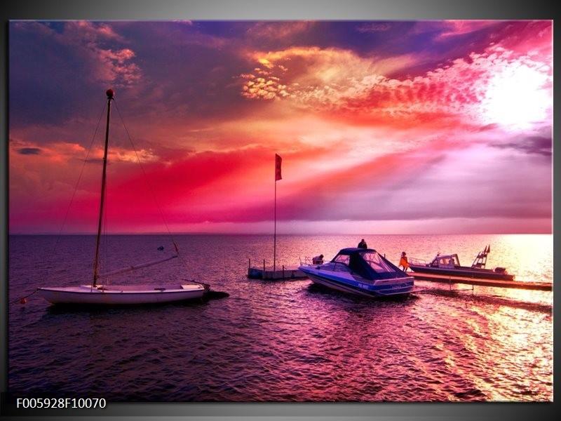 Glas schilderij Water | Paars, Roze, Blauw