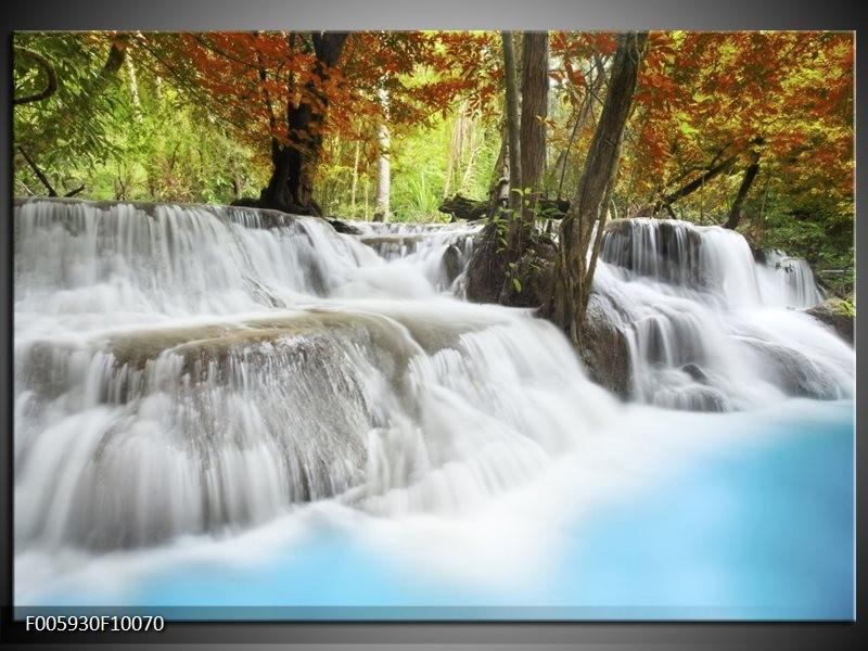 Glas schilderij Waterval | Blauw, Bruin, Grijs