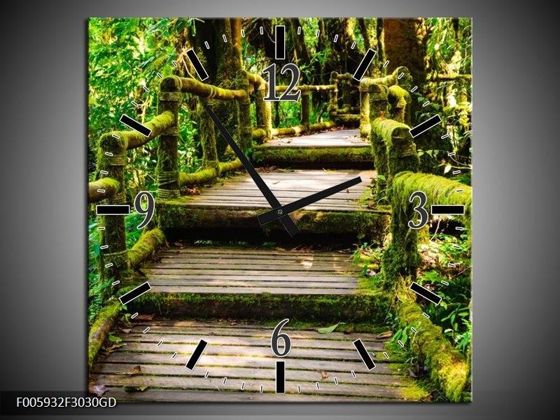 Wandklok op Glas Trap | Groen, Bruin, Grijs | F005932CGD