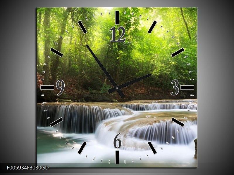 Wandklok op Glas Waterval   Groen, Blauw, Grijs   F005934CGD