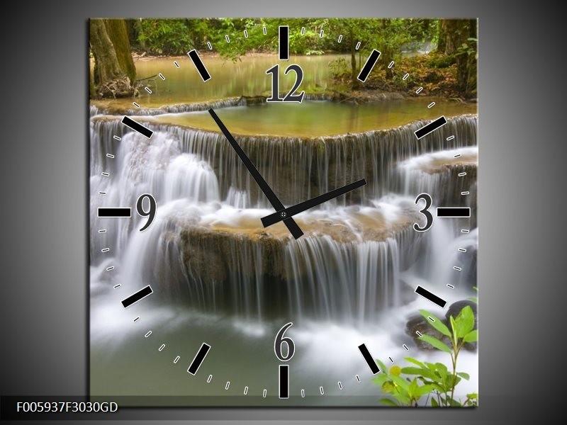 Wandklok op Glas Waterval | Groen, Grijs, Wit | F005937CGD