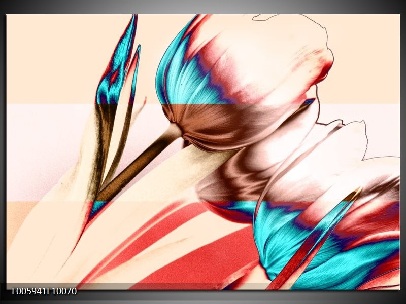 Glas schilderij Tulp | Blauw, Rood, Crème