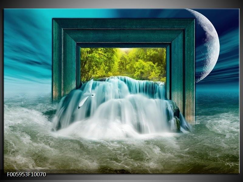 Glas schilderij Waterval | Blauw, Groen, Wit