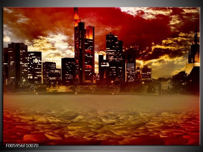 Glas schilderij Stad | Rood, Geel, Grijs