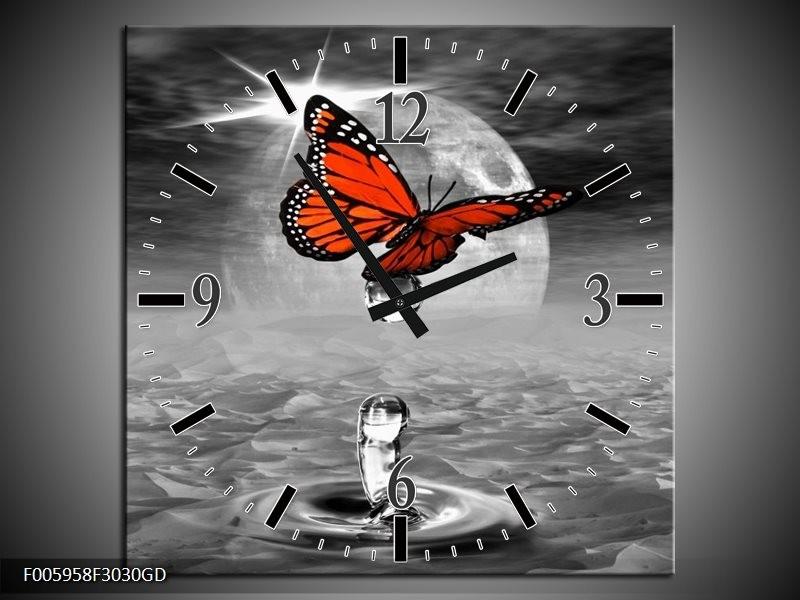 Wandklok op Glas Vlinder | Rood, Grijs, Wit | F005958CGD