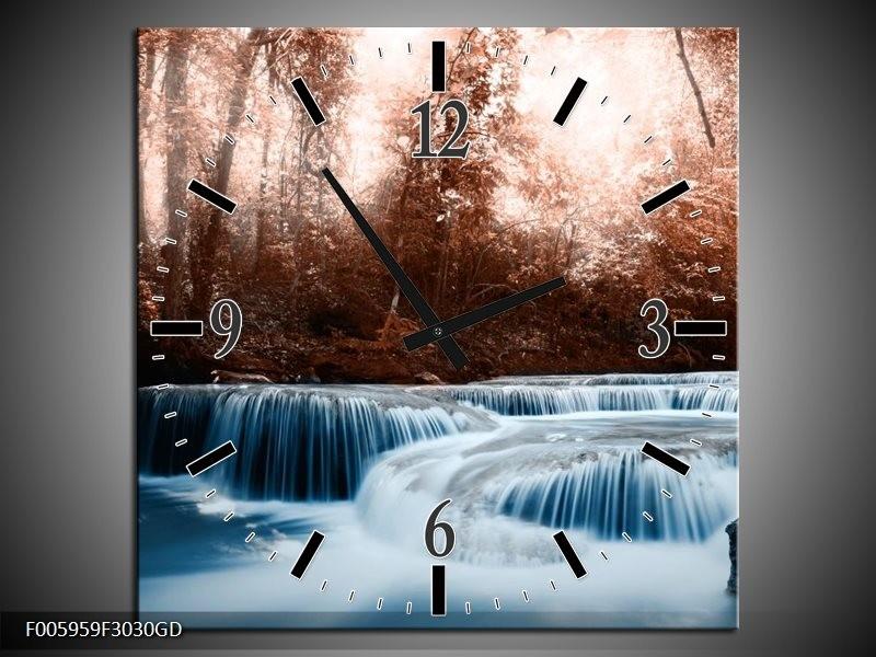 Wandklok op Glas Waterval | Blauw, Bruin, Wit | F005959CGD