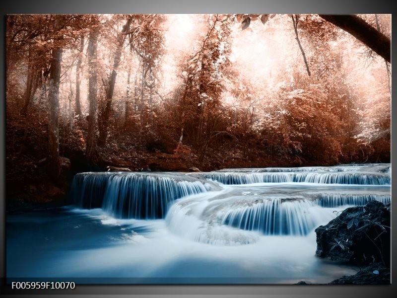 Glas schilderij Waterval   Blauw, Bruin, Wit