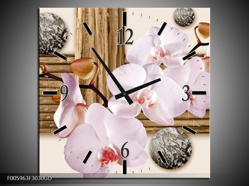 Wandklok op Glas Orchidee | Roze, Grijs, Bruin | F005963CGD