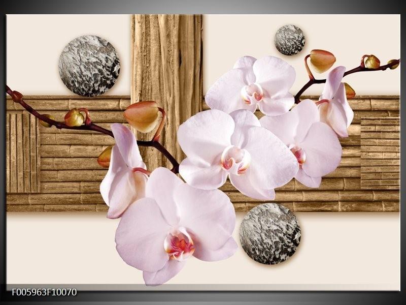 Glas schilderij Orchidee | Roze, Grijs, Bruin
