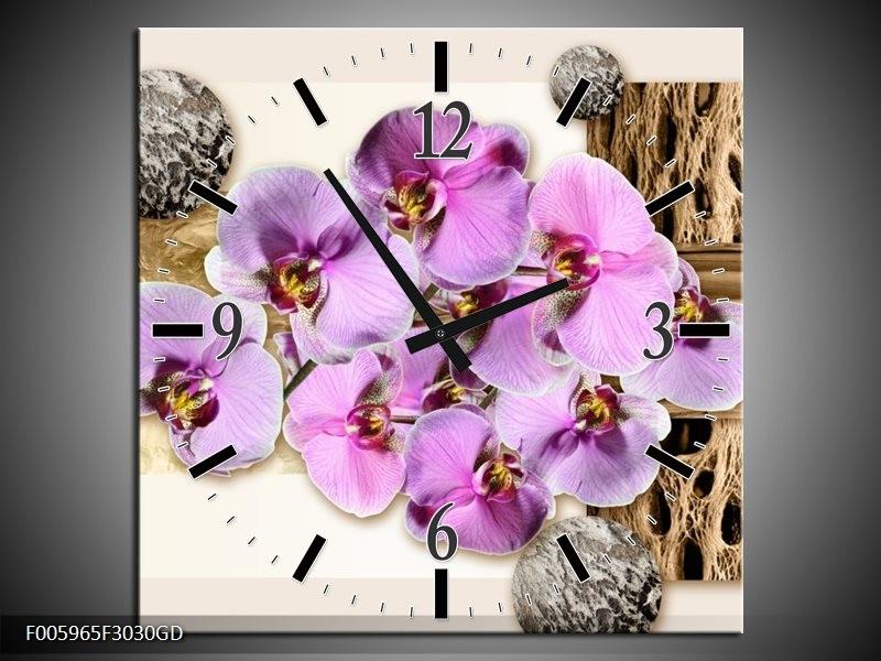 Wandklok op Glas Orchidee | Roze, Wit, Bruin | F005965CGD