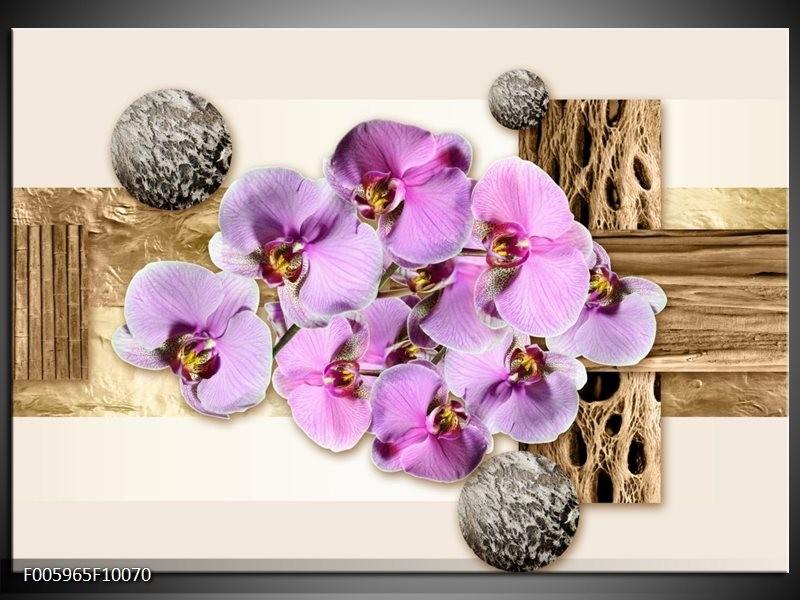 Glas schilderij Orchidee | Roze, Wit, Bruin