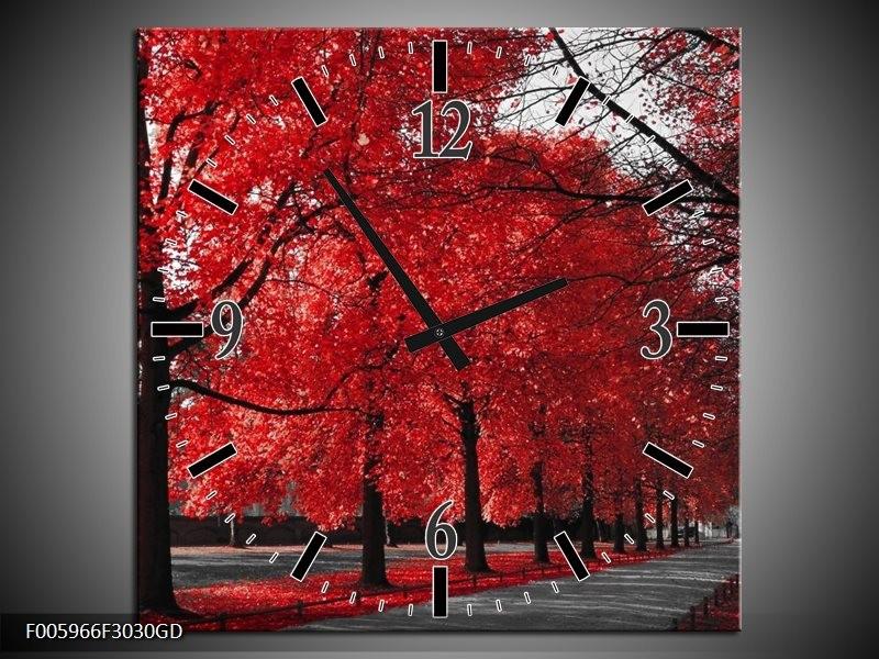 Wandklok op Glas Bomen | Rood, Grijs, Wit | F005966CGD