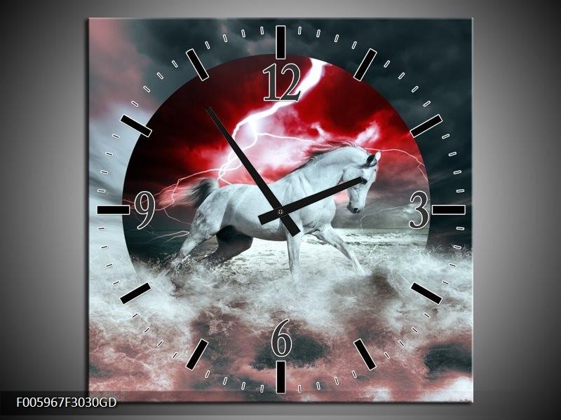 Wandklok op Glas Paard | Rood, Grijs, Wit | F005967CGD