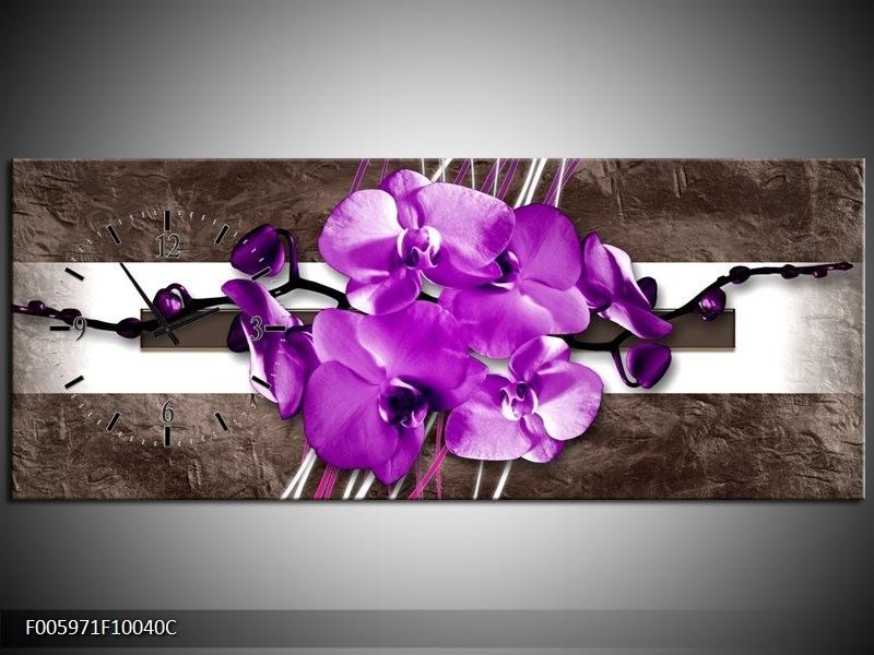 Klok schilderij Orchidee | Paars, Grijs, Wit | 100x40cm 1Luik