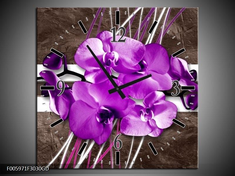 Wandklok op Glas Orchidee | Paars, Grijs, Wit | F005971CGD