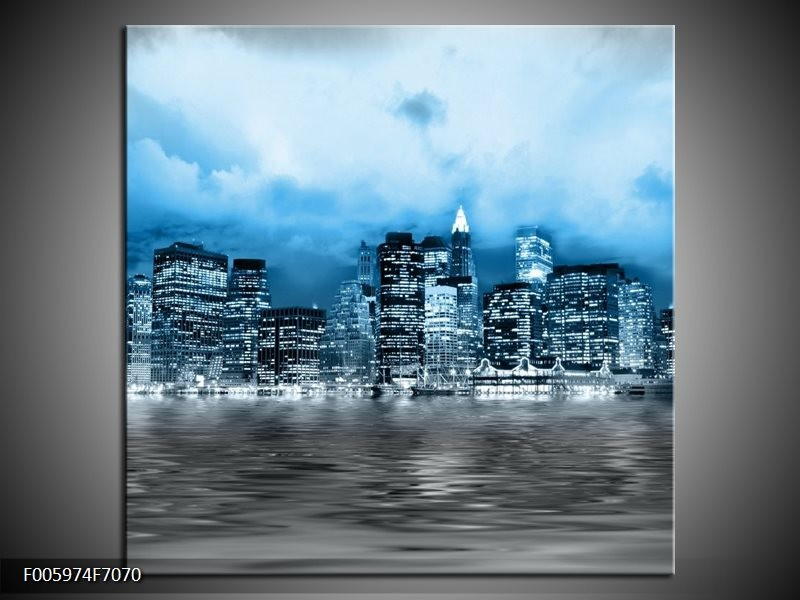 Canvas schilderij Stad | Blauw, Grijs, Wit | 70x70cm 1Luik
