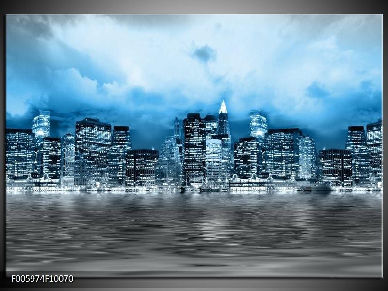 Glas schilderij Stad | Blauw, Grijs, Wit