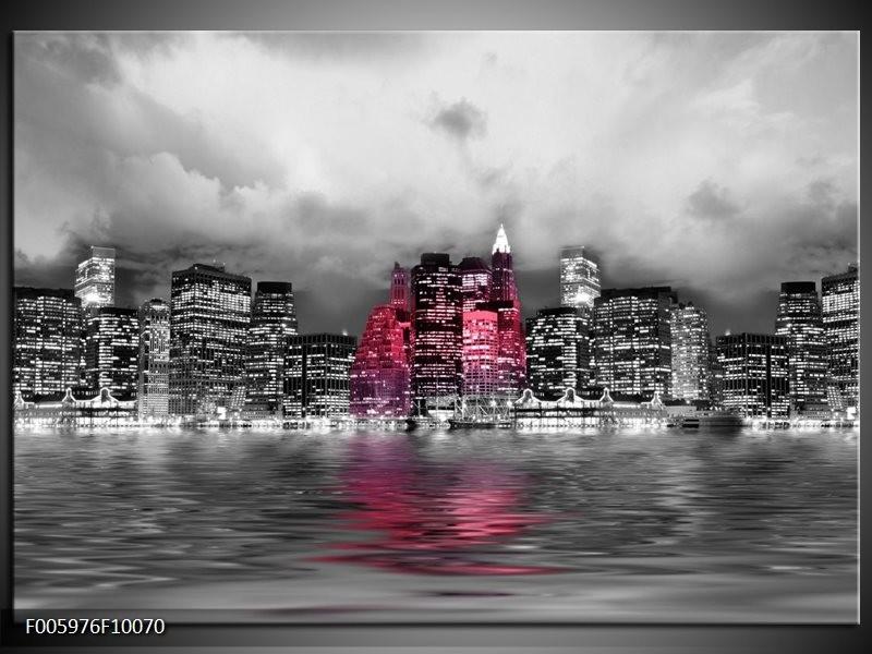 Glas schilderij Stad | Roze, Grijs, Wit