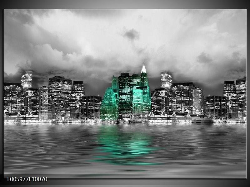 Glas schilderij Stad | Groen, Grijs, Wit