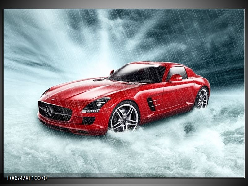 Glas schilderij Mercedes | Wit, Rood, Zwart