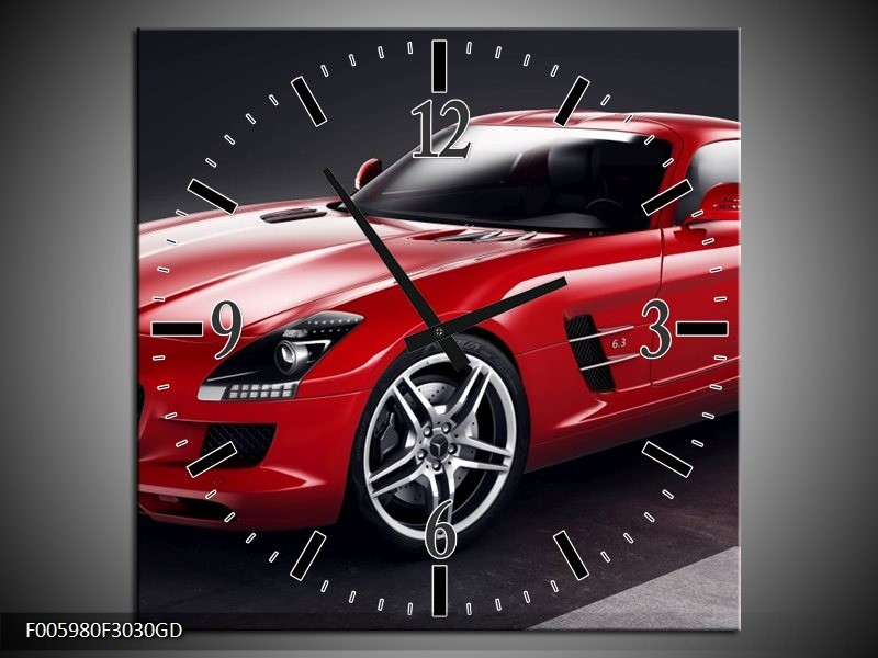 Wandklok op Glas Mercedes | Kleur: Rood, Zwart | F005980CGD