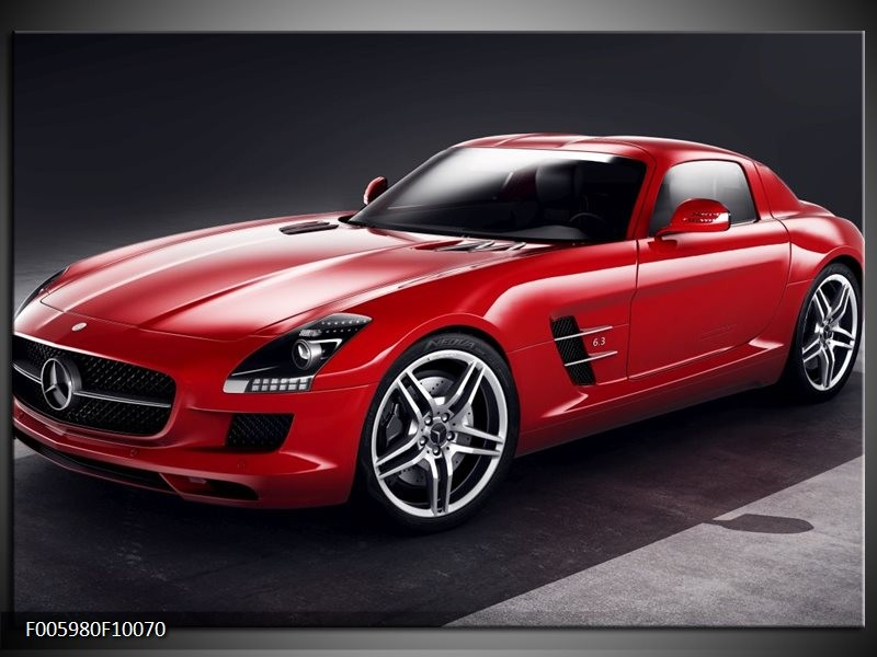 Glas schilderij Mercedes | Rood, Zwart
